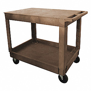 Polypropylene Flat Handle Utility Cart, 500 lb. Load Capacity, Number of Shelves: 2