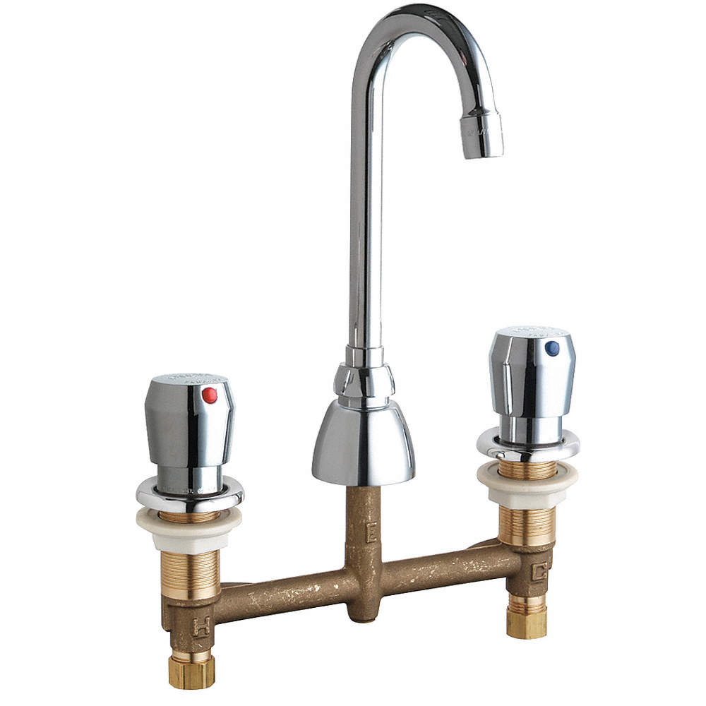 CHICAGO FAUCETS Low Lead Cast Brass Bathroom Faucet, Push Button ...