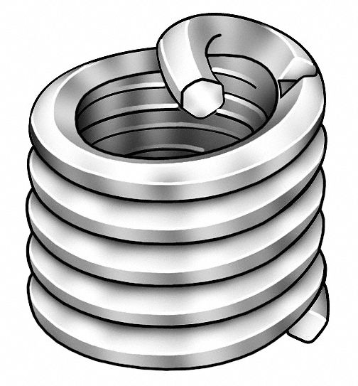 Helical Insert,  Screw Locking Helical,  304 Stainless Steel,  7/8-14 Internal Thread Size