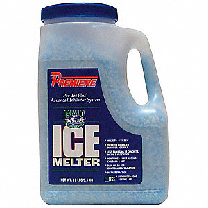 Blue Granular Ice Melt, -8 Degrees F Effective Temp., Size: 12 lb., Plastic Shaker Jug Package Type