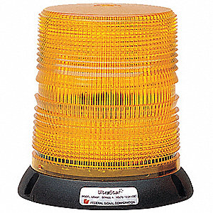 Strobe Light,LED,Amber,Perm,6-1/2 Dia