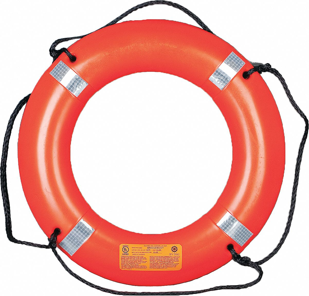 Survival Ring Buoy,  30 W x 4-1/2 H x 30 in Dia,  Low Density Polyethylene (LDPE)