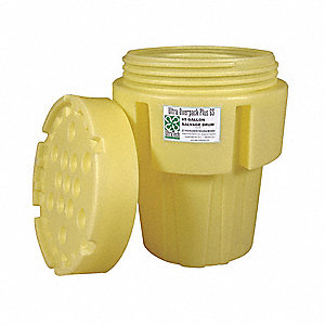 65 gal. Yellow Polyethylene Open Head Overpack Drum