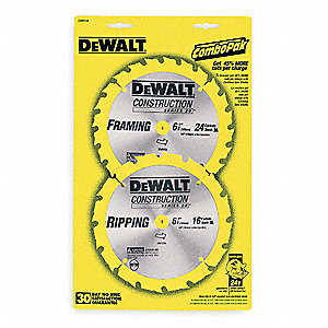 "6-1/2"" Carbide Combination Circular Saw Blade, Number of Teeth: 18/24, Package Quantity 2"