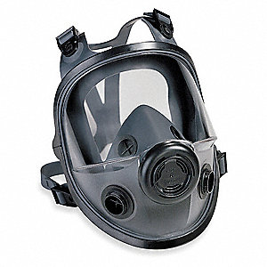 Threaded Connection Low Maintenance Full Face Respirator, 4 Point Suspension, M/L