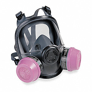Threaded Connection Low Maintenance Full Face Respirator, 4 Point Suspension, S