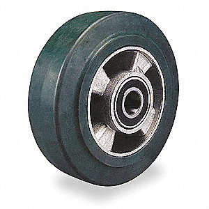 "8"" Caster Wheel, 880 lb. Load Rating, Wheel Width 2"", Rubber, Fits Axle 1/2"""