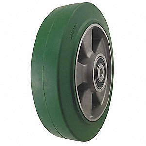 "8"" Caster Wheel, 880 lb. Load Rating, Wheel Width 2"", Rubber, Fits Axle Dia. 1/2"""