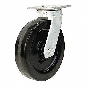 "8"" Medium-Duty Kingpinless Swivel Plate Caster, 1400 lb. Load Rating"