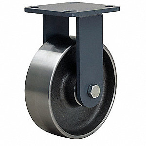 Plte Caster,Rgd,Forged Stel,6 in,2000 lb