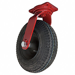 "16"" Medium-Duty Sawtooth Tread Swivel Pneumatic Caster, 1220 lb. Load Rating"