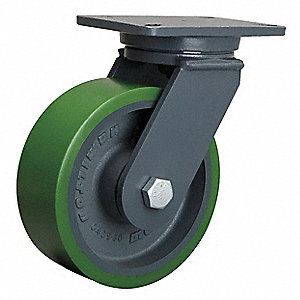 Plte Caster,Swvl,Poly,10 in.,2200 lb.