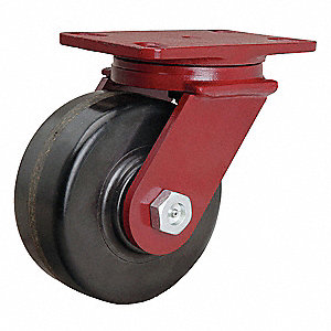 "6"" Medium-Duty Swivel Plate Caster, 1800 lb. Load Rating"