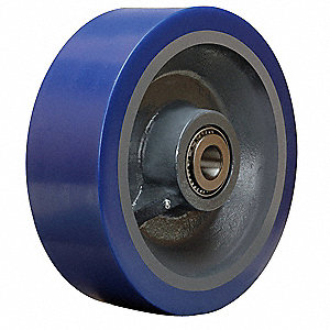 "12"" Caster Wheel, 6000 lb. Load Rating, Wheel Width 4"", Polyurethane, Fits Axle Dia. 1-1/4"""