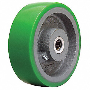 "6"" Caster Wheel, 1200 lb. Load Rating, Wheel Width 2"", Polyurethane, Fits Axle 3/4"""