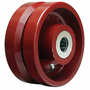 "6"" Caster Wheel, 2500 lb. Load Rating, Wheel Width 2-3/4"", Cast Iron, Fits Axle Dia. 1"""