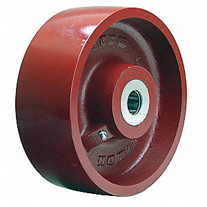 "8"" Caster Wheel, 2600 lb. Load Rating, Wheel Width 3"", Cast Iron, Fits Axle Dia. 1"""