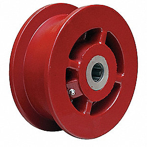Caster Wheel,Cast Irn,6 in.,2500 lb.,Red