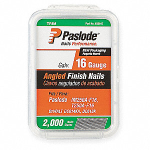 Angled Finish Nail,16ga,1-1/4 In,PK2000