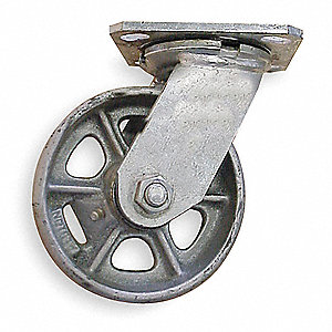 "8"" Medium-Duty Swivel Plate Caster, 1250 lb. Load Rating"