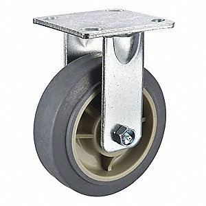 Rigid Plate Caster,TPR,5 in.,375 lb.