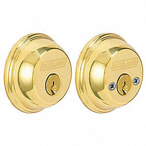 Heavy-Duty Polished Brass Deadbolt, Double-Cylinder, Keyed Different
