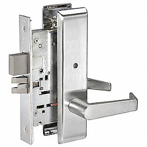 Mortise Lockset,  Mechanical,  Keyed Different,  Dull Chrome,  2 3/4 in Backset,  Mortise