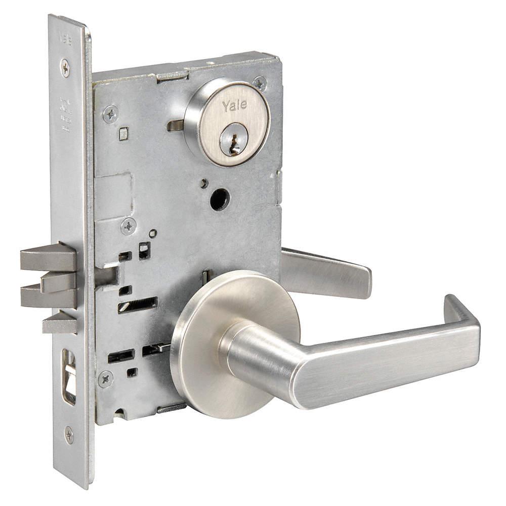YALE Mortise Lockset, Keyed Different, 2-3/4