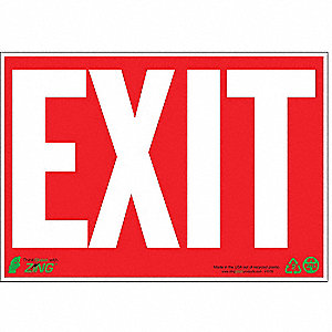 Exit Sign,7 x 10In,WHT/R,Exit,ENG,Text