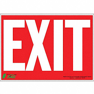 Exit Sign,10 x 14In,WHT/R,Exit,ENG,Text