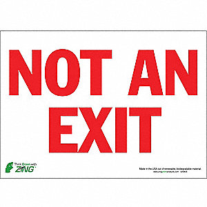 Not An Exit Sign,10 x 14In,R/WHT,ENG