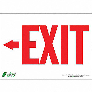 Exit Sign,10 x 14In,R/WHT,Exit,ENG,SURF