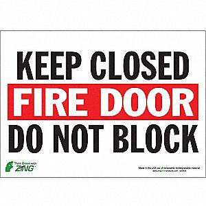 SIGN FIRE DOOR CLOSED 10X14 SA
