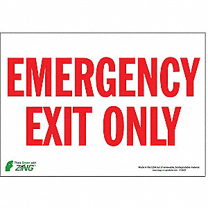 Exit Sign,7 x 10In,R/WHT,EMER Exit Only