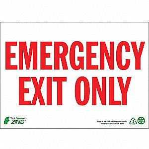 Exit Sign,10 x 14In,R/WHT,EMER Exit Only