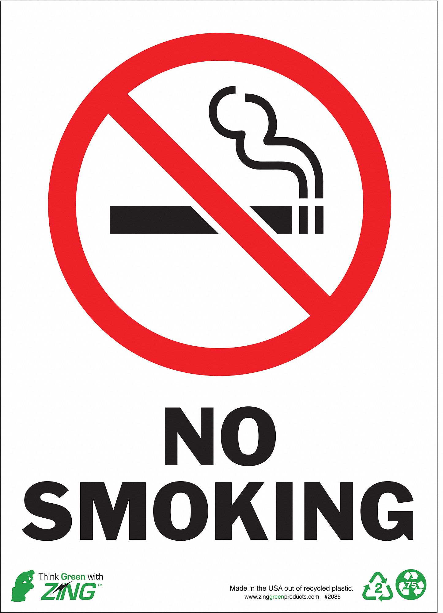 zing no smoking sign 7 x 10 in r and blackwhite model 1085a