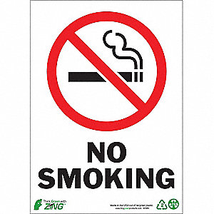 No Smoking Sign,14 x 10In,R and BK/WHT