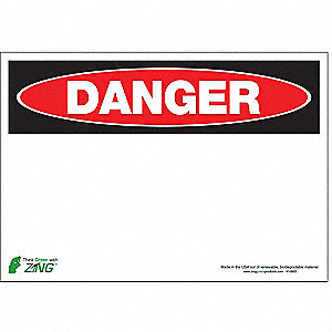 Danger Sign,7 x 10In,R and BK/WHT,BLK