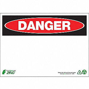Danger Sign,10 x 14In,R and BK/WHT,BLK