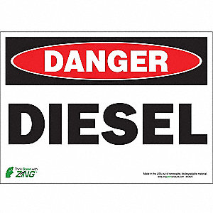 Danger Sign,Diesel,10 x 14In,Self Adh