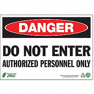"Authorized Personnel and Restricted Access, Danger, Plastic, 7"" x 10"", Surface"