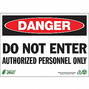 "Authorized Personnel and Restricted Access, Danger, Aluminum, 7"" x 10"", Surface"