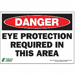 "Personal Protection, Danger, Polyester, 7"" x 10"", Adhesive Surface"