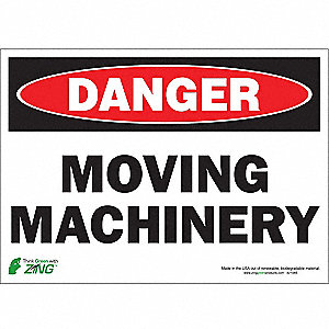 "Machine and Operational, Danger, Polyester, 10"" x 14"", Adhesive Surface"