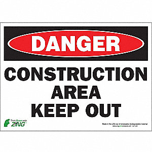 "Road Traffic Control, Danger, Polyester, 10"" x 14"", Adhesive Surface"