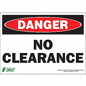 "Overhead Clearance, Danger, Polyester, 10"" x 14"", Adhesive Surface"