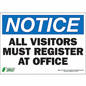 "Employees and Visitors, NOTICE, Polyester, 10"" x 14"", Adhesive Surface"