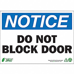 "Notice Sign, Do Not Block Door, 7""x10"""