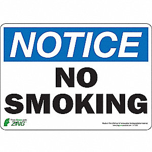 "No Smoking, NOTICE, Polyester, 7"" x 10"", Adhesive Surface"