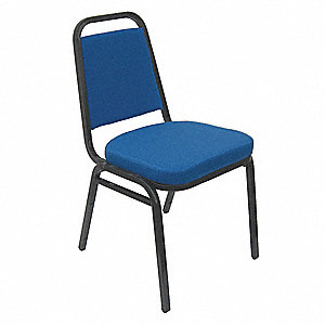 Black Steel Stacking Chair with Blue Seat Color, 1EA